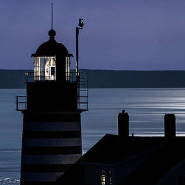 Marty Saccone - Midnight Moonlight on West Quoddy Head Lighthouse
