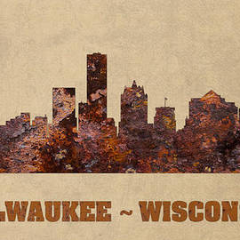 Design Turnpike - Milwaukee City Skyline Rusty Metal Shape on Canvas