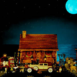 Leslie Crotty - MINIATURE LOG CABIN SCENE WITH OLD TIME VINTAGE CLASSIC 1930 Packard LaBaron in color