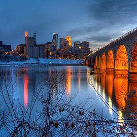 Wayne Moran - Minneapolis Skyline Images Stone Arch Bridge Spring Evening
