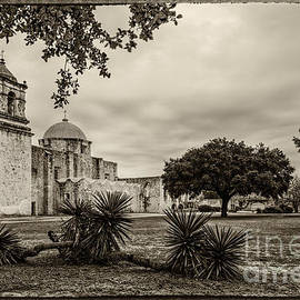 Silvio Ligutti - Mission San Jose in Vintage Yellowed Tint - San Antonio Missions Texas