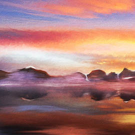 Angela A Stanton - Misty Bay at Sunset