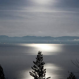 John Harwood - Misty Moon over Flathead Lake