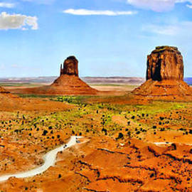 Bob and Nadine Johnston - Mittens Courthouse Monument Valley Panorama