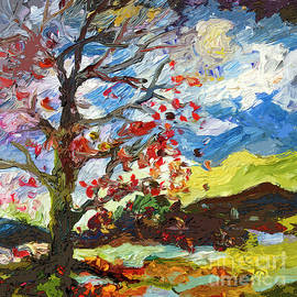 Ginette Callaway - Modern Art Autumn Tree Red Leaves Falling