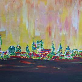 M Bleichner - Modern Munich Skyline Silhouette in Neon