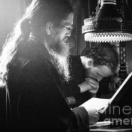 Mount Athos - Monk praying  - BW