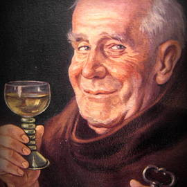 Monk with wineglass and key