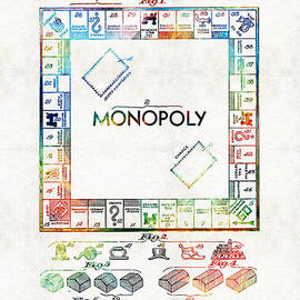 Sharon Cummings - Monopoly Game Board Vintage Patent Art - Sharon Cummings