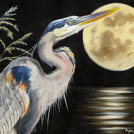 Phyllis Beiser - Moon Over Mississippi A Great Blue Herons Perspective
