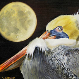 Phyllis Beiser - Moon Over Mississippi A Pelicans Perspective