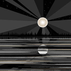 Val Arie - Moon Rise - Black and White