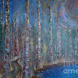 Jacqueline Athmann - Moonlit Birch Path In Blue