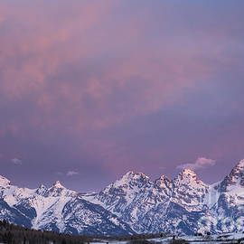 Mike Cavaroc - Morning Clouds Above Teton Mountains