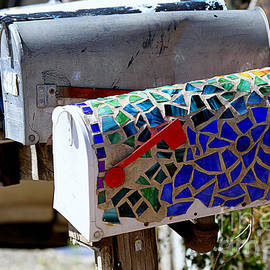 Catherine Sherman - Mosaic Mailbox on the Turquoise Trail in New Mexico