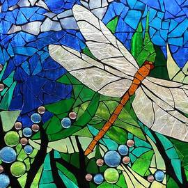 Catherine Van Der Woerd - Mosaic Stained Glass - Golden Brown Dragonfly