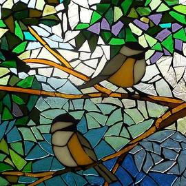 Catherine Van Der Woerd - Mosaic Stained Glass - Two Little Chickadees