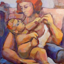 Johannes Strieder - Mother And Child Painting
