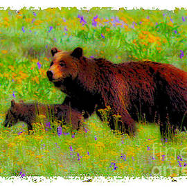 Jerry Cowart - Mother Bear And Cub In Meadow