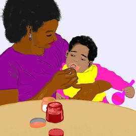 Pharris Art - Mother Feeding Her Baby