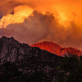 Jerry Cowart - Mountain Top Sunrise With Orange Dramatic Storm Clouds
