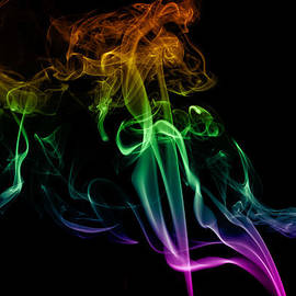 Vishwanath Bhat - Multi colored smoke abstract on balck