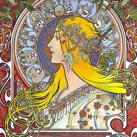 Elena Yakubovich - My Acrylic Painting As An Interpretation Of The Famous Artwork Of Alphonse Mucha - Zodiac -