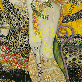 Elena Yakubovich - My acrylic painting as an interpretation of the famous artwork of Gustav Klimt - Water Serpents I