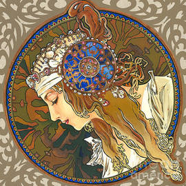 Elena Yakubovich - My Acrylic Painting As Interpretation of Alphonse Mucha- Byzantine Head. The Blonde. Diagonal frame.