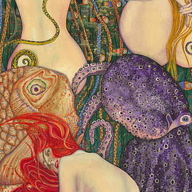 Elena Yakubovich - My Acrylic Painting inspired by Klimt - Goldfish - Beethoven Frieze - Jurisprudence Final State -