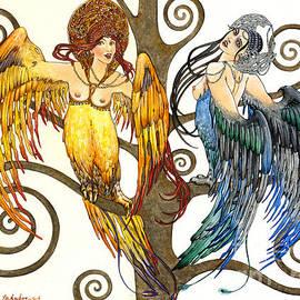 Elena Yakubovich - Mythological Birds-Women Alconost and Sirin- Elena Yakubovich