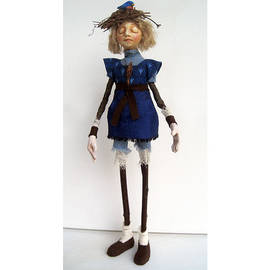 Linda Apple - Nature Guardian Earth and Sky mixed media art doll sculpture
