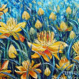 Drinka Mercep - Nature Yellow Flowers Original Painting Oil on Canvas