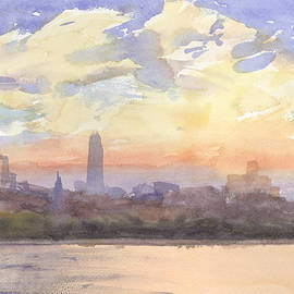 Walter Lynn Mosley - New York City Sunset with Freedom Tower