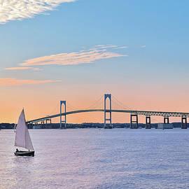Marianne Campolongo - Newport Bridge Twilight Sunset with Sailboat Rhode Island USA