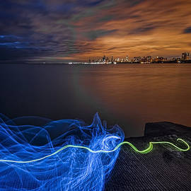 Sven Brogren - Night Chicago Skyline with light painting
