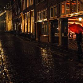 Jenny Rainbow - Night Lights of Utrecht. Orange Umbrella. Netherlands