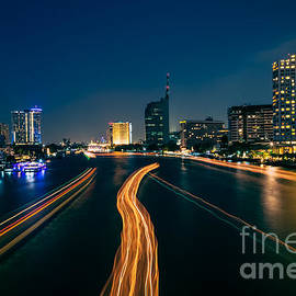 Fototrav Print - Night River Scene through Bangkok