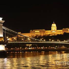 Mahsa Watercolor Artist - Nights of Danube- Chain Bridge Budapest
