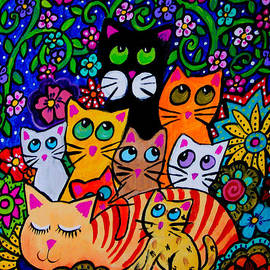 Tori Radford - Nine Cats in Everblooming Garden