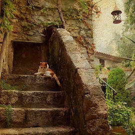 Jenny Rainbow - Noon Rest on the Stairs. Eze. France