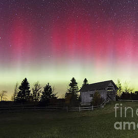 John Vose - Northern Lights Over Foster Covered  Bridge Cabot VT