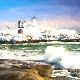 Mel McKennon - Nubble Lighthouse oil painting style