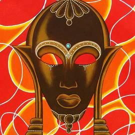 Joseph Sonday - Nubian Modern Mask with Red and Orange