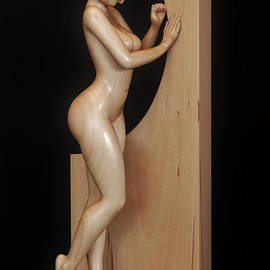 Jakob Wainshtein - Nude woman wood sculpture BY the Window