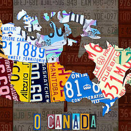Design Turnpike - O Canada Recycled License Plate Map of Canada National Anthem on Canadian Flag Art
