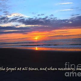 Sandra Clark - Ocean Isle Beach Sunset - Scripture Art