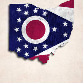 World Art Prints And Designs - Ohio Map Art with Flag Design