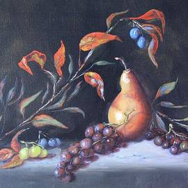 Roena King - Oil Painting - Still Life with Grapes and Pear