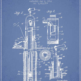 Aged Pixel - Oil Well Pump Patent From 1912 - Light Blue